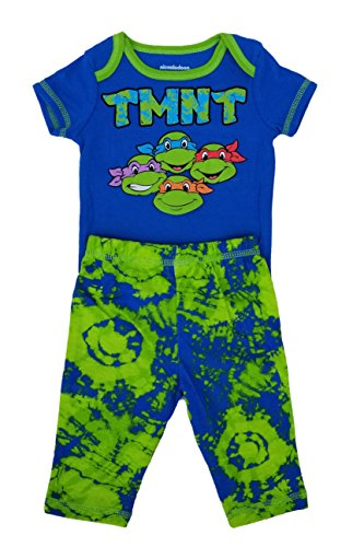 Teenage Mutant Ninja Turtles TMNT Baby 2-Piece Bodysuit & Pants Set (0/3 Months) Blue, Green