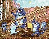 Pintar Por Numeros Para Adultos Niños Pintura,Escalera De Gato Azul Pintar Por Números Con Pinceles Y Colores Brillantes Sin Marco 40 X 50 Cm