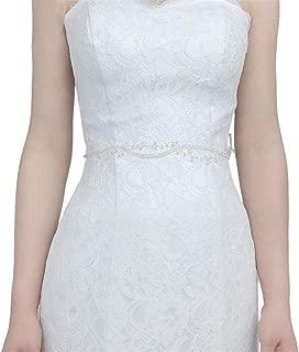 LUKEEXIN Bridal Belt Pure Crystal Handmade Wedding Dress Accessories Women's Belt (Color : Ivory- Organza)