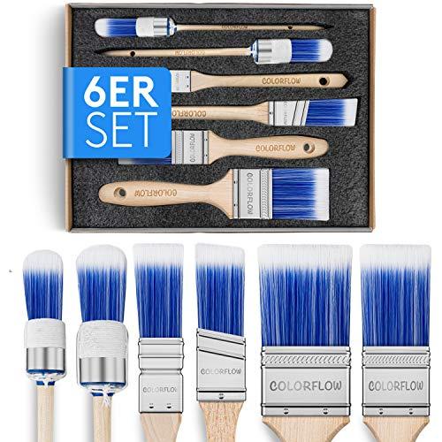 Colorflow® Malerpinsel Set 6-teilig - Perfekt abgestimmtes Pinselset für Maler - Lackpinsel für den Profi - Lackierpinsel für den anspruchsvollen Heimwerker