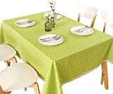 Grüne Tischdecke, Polka Dot Tischdecke Stoff Spitze Baumwolle Dicke Leinwand...