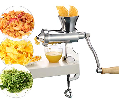 Moongiantgo Manual Juicer Extractor Stainless Steel Hand Wheatgrass Juicer Squeezer Machine for Wheat Grass Celery Kale Spinach Parsley Ginger Pomegranate Apple Grapes Orange (MJ01: Clip-on Type)