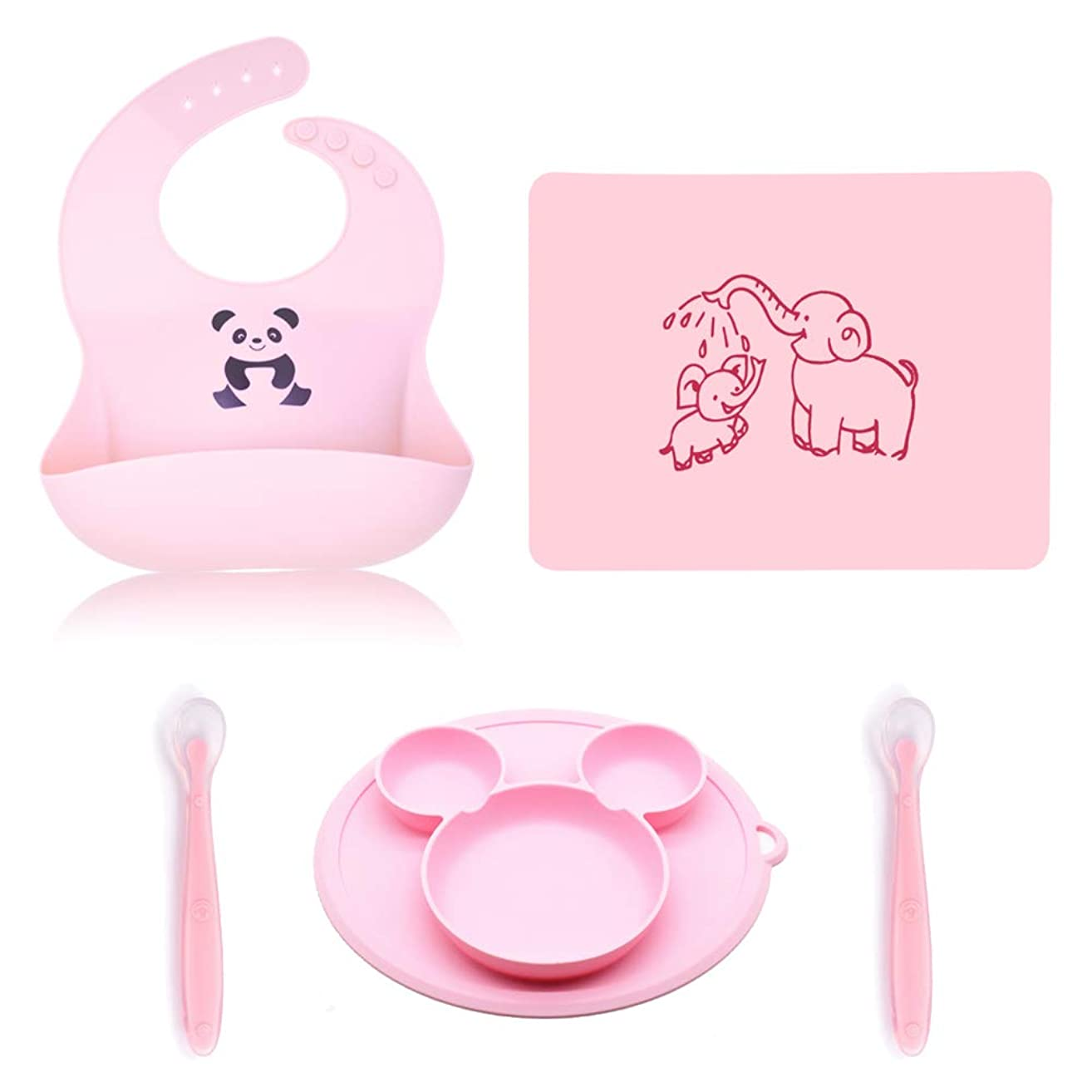 Silicone Baby Bib Baby Feeding Set Bowls Spoons with Food Pocket,Waterproof Bibs for Babies & Toddlers Girl and Boy,Silicone Bib/Plate/Mat/Spoons Set,Easily Wipe Clean BPA Free Great Baby Gift…
