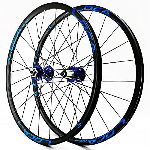 CAREXY Juego de Ruedas MTB, Bicicleta de montaña de 26/27,5 Pulgadas, llanta de Doble Pared, Rueda de Bicicleta, Freno de Disco de 6 Clavos, 12 velocidades, liberación rápida,Azul,26''
