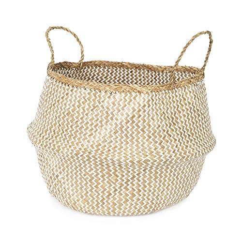 Compactor Belly Large Woven Seagrass Storage Basket 45 x 45 x 36cm, Natural/White