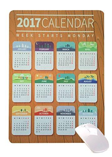 2017 calendar anti slip mat mouse pad desktop mouse pad notebook computer mouse pad game mouse pad (brown)