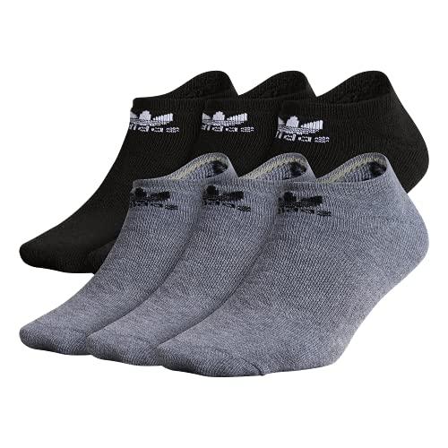 adidas Originals Youth Kids-Boy's/Girl's Trefoil No Show Socks (6-Pair), Heather Grey/Black Black/White, Medium, (Shoe Size 13C-4Y)