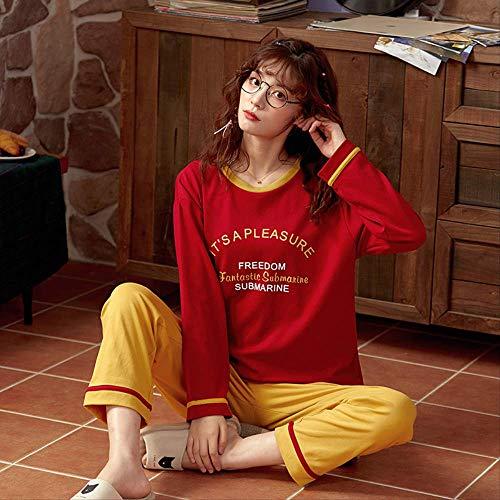 XFLOWR Nachtwäsche Damen Pyjama Set Lässig Baumwolle Pyjama Femme Pijama Mujer Mädchen Lounge Wear Home Anzug Sportswear XL