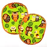 Buegelflicken Set retro XL Eule auf grün 12 x 10 cm 2 Flicken zum aufbuegeln Knieflicken Hosenflicken Aufbügler groß Eulen Bügelbilder Applikationen