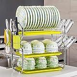 TTXP Acero Inoxidable Dish Drainer de 3 Pisos con Bandeja de Gota Extraíble,53x25x44cm / 21x17x10in,Amarillo Escurridero Platos para Cubiertos Diseño Moderno