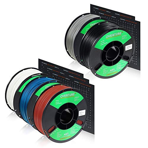 OVERTURE ABS 1.75mm Filament with Build Surface 200mm × 200mm 3D Printer Consumables, 1kg Spool (2.2lbs), Dimensional Accuracy +/- 0.05 mm, Fit Most FDM Printer (5-Color)
