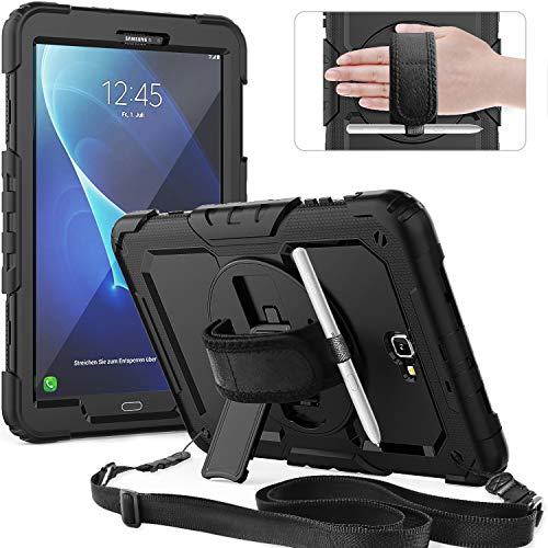 Timecity Galaxy Tab A 10.1 Case,(Only Fit SM-T580 T585 T587 2016 Release Tablet).Full-Body Rugged Cover with Rotation Kickstand, Hand Strap,S Pen Holder.Built-in Screen Protector-Black