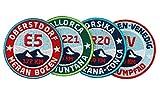 4er-Set Wander-Abzeichen gestickte 55 mm / Fernwanderweg Mallorca GR-221, Korsika GR-20, München-Venedig, E5 Alpencross / Aufnäher Aufbügler Sticker Patches für Kleidung Rucksack...