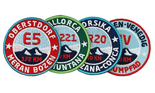 4er-Set Wander-Abzeichen gestickte 55 mm / Fernwanderweg Mallorca GR-221, Korsika GR-20, München-Venedig, E5 Alpencross / Aufnäher Aufbügler Sticker Patches für Kleidung Rucksack Alpen-Überquerung