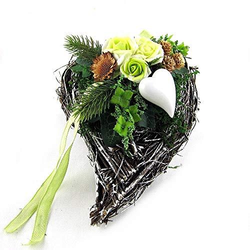 Small-Preis Grabgesteck - Grabschmuck - Grabaufleger Herz mit Rose Mint 018