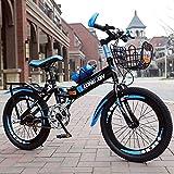 N&I Bicicleta de montaña plegable para niños de 6 a 15 años, de acero al carbono, con cadena y parte trasera, de 60 a 15 años, para niños y niñas, color azul