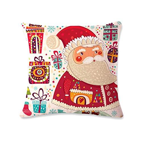 Noël Coussin décoratif en Toile Couverture Accueil Taie Père Noël Motif Coussin Taie d'oreiller Couverture avec Fermeture à glissière cachée de Jardin Accueil Produits Cuisine