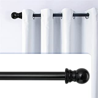 """Curtain Rods for windows,1"""" Diameter Metal Single Adjustable to two lengths Curtain Rod set with Brackets (Black, 30-44"""")"""