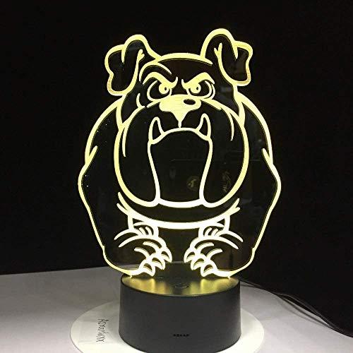 Bonita lámpara 3D con diseño de perro, lámpara 3D, 7 colores táctiles, para dormitorio o decoración de cachorros