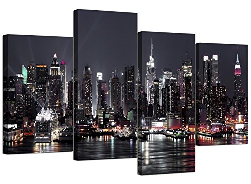Wallfillers Juego de 4 lienzos, diseño de Nueva York con Texto Skyline (tamaño XL,...