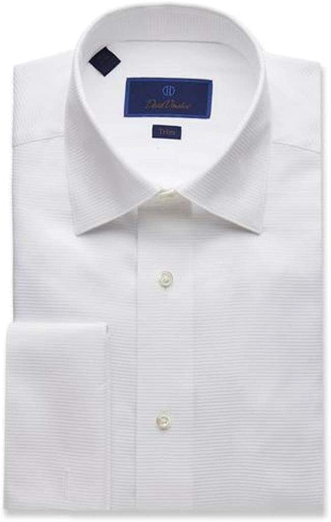 David Donahue Men's Horizontal Rib Solid Trim Fit Formal Tuxedo Shirt - White