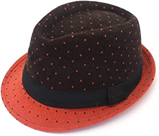 CHUNJIAO Casual Wool Felt Men Cap Winter Hat Jazz Cap Fashion Flat Strip Bow Male Hat Sombrero Cap 5 Colour Beautiful stylish hat (Color : Orange)