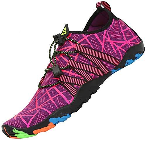 Zapatos de Agua Mujer Escarpines Piscina Verano Calzado Natacion Snorkel Respirable Zapatillas para Surf Morado 37 EU