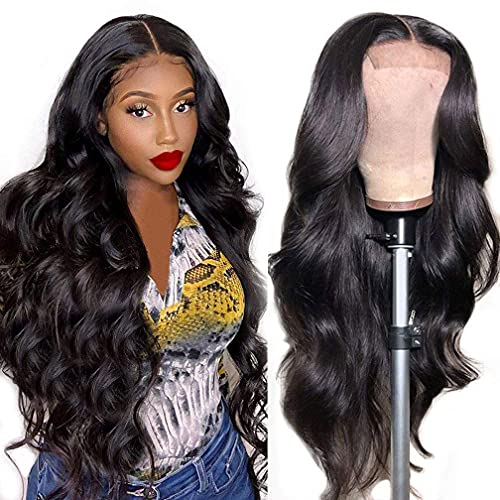Body Wave Wig Human Hair Wigs for Women Lace Closure Wigs Human Hair Pre Plucked 150% Density Body Wave Lace Front Wig Natural Black Color(16 inch)