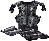 DXMGZ Equipo de Protección para Motocicletas, Rodilleras+Coderas+Chaleco Protector de Espalda para Niños, Protección Ajustable para Cuerpo Al Conducir Fuera Carretera, Andar Bicicleta, Esquiar Black