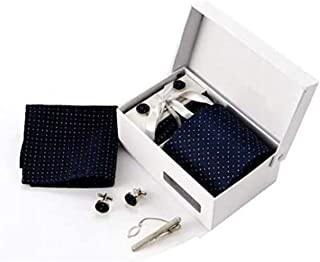 SKEIDO Men fashion casual business necktie cufflinks hanky tie clip set box-packed Gifts for male