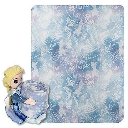"small size Disney Frozen 2, flashy Elsa pillow and fleece blanket set, 40 ""x 50"", multicolor, 1 piece"