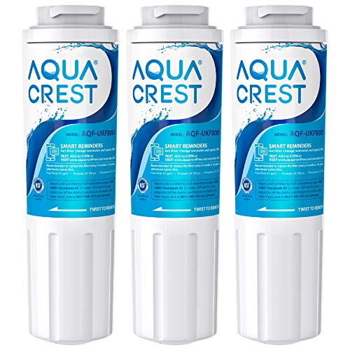 AQUACREST UKF8001 Water Filter, Replacement for Maytag UKF8001P, UKF8001AXX, Whirlpool 4396395, 469006, EDR4RXD1, EveryDrop Filter 4, PUR, Puriclean II (Pack of 3, package may vary)