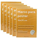 Nacnic Set 6 Marcos Transparentes de Clip Soporte Transparente para Fotos, Posters, Diplomas, Dibujos o láminas. Tamaño 50x70cm. Marco Clip Transparente con plexiglas y Anclajes para Colgar.
