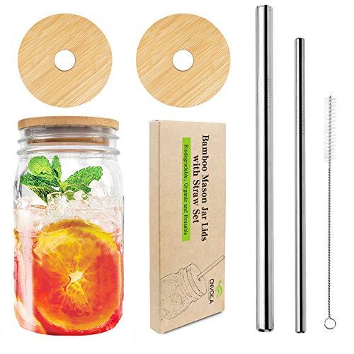 自备饮料杯最环保~竹梅森罐盖套装-包含2个带吸管孔的竹梅森罐盖,2个304不锈钢吸管和1个吸管清洁刷。