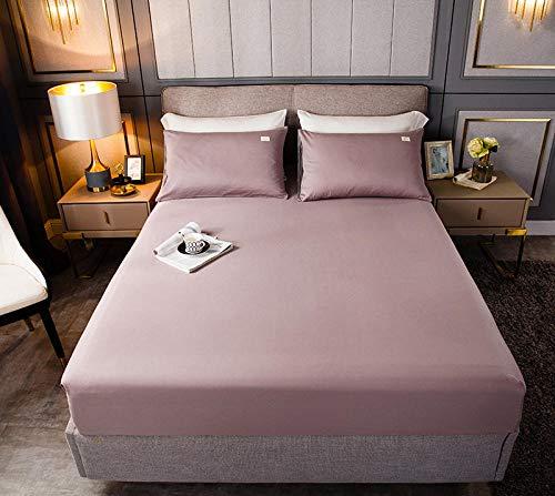 HPPSLT Protector de colchón, algodón, poliéster, Sábana de Cama de Color Puro de una Sola Pieza de algodón Ligero Su Powder_180cm × 220cm