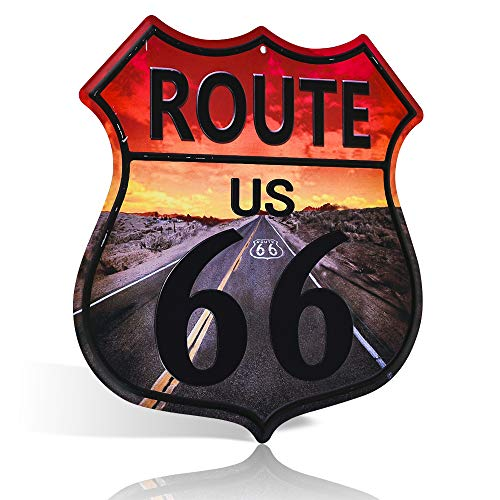 不适用 Placa de metal para decoración de pared, diseño retro con texto en inglés «Route 66 Highway»
