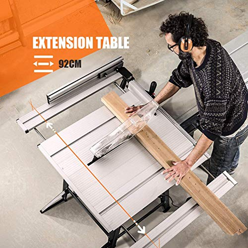 Table Saw, 10-Inch 15-Amp Table Saw, Cutting Speed up to 4800RPM, Aluminum Extension Table, 24T Blade, 45ºBevel Cutting, Jobsite Table Saw with Stand, Miter Gauge, Push Bar