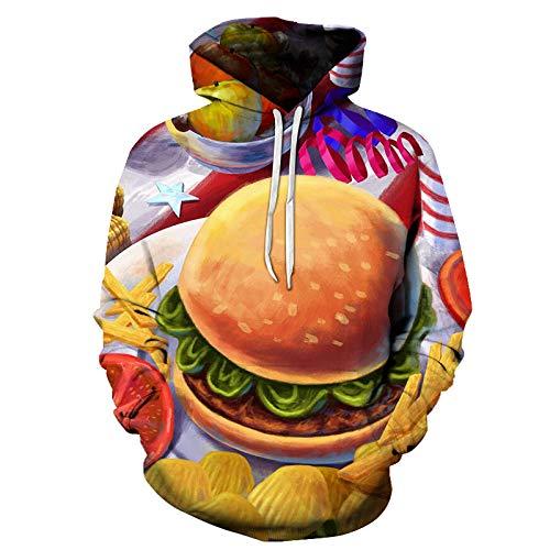 Fashion Männer und Frauen Sweatshirts mit 3D-Druck, Nudel Burger Food Hoodies Kinder 2019 Frühling Herbst Pullover Gr. L, Farbe1