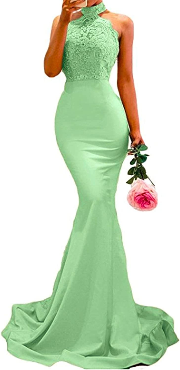 Yisha Bello Women's Long Satin Halter Mermaid Prom Dresses Sweep Train Backless Lace Evening Gowns