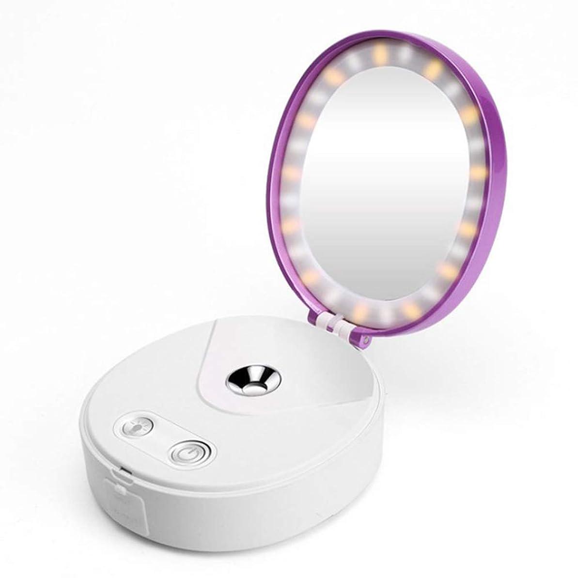 病気オーディション倍率化粧鏡ライト力銀行が付いている1つの小型ナノ霧の冷たいスプレーヤーの顔の加湿器に付き4つ