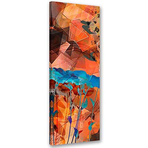 Cuadro de Pared XXL Flores Impresión Lienzo Abstracto Gráfica Naranja 50x150 cm