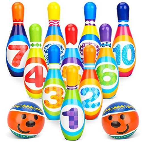 Kegelspiel für Kinder Ball Set Bowling Set mit 10 Kegel und 2 Bälle Mini Drin und Draußen Spielzeug Geschenke Spiele ab 3 Jahre Mädchen Junge