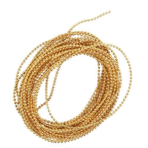Homyl 5 Meter Perlenband Perlenkette Perlengirlande Perlenschnur Mini-Perlen Micro-Perlen Nail Art Minibeads Nagel Perlen - Gold
