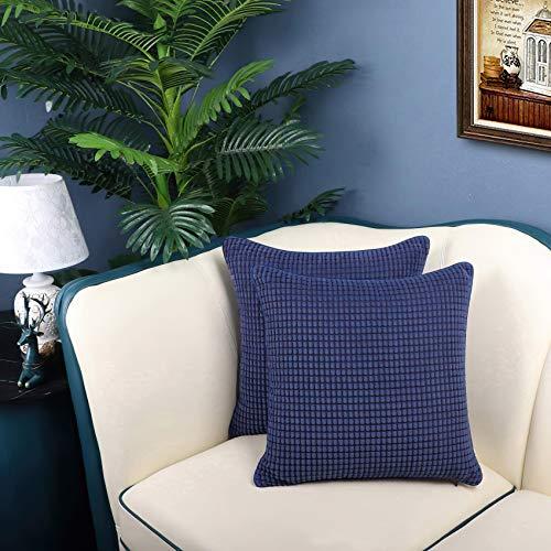 QUANHAO Funda de Almohada de mazorca de maíz, Funda de Almohada, Funda de cojín de Pana, cojín Decorativo Cuadrado para sofá y Funda de Almohada para Coche, Paquete de 2(Azul Marino, 45x45cm)