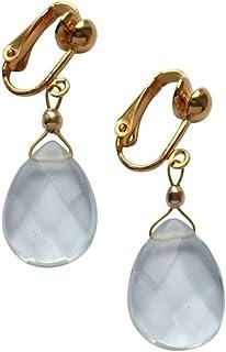 Gemshine - Aguaclipo - Boucles d'oreille pour femme - or plaqué l14 carats (585) - Quartz - Clips - Bleu - Pendantes