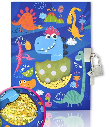 EverCreatives Diary with Lock for Girls and Boys, Dinosaur Shakable Sequin Journal Secret Lock Diary Notebook for Kids