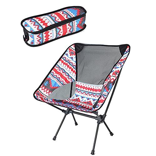 JIASHIQI Silla de Camping Plegable de jardín - Picnic Multicolor Playa Pasador de Respaldo Plegable con Bolsa de Transporte Silla Plegable portátil al Aire Libre (Color : Red, Size : 60)