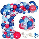 Navy Blue Red White Balloon Garland Kit,139 Pack Navy Red White Confetti Balloon for Boy Blue Birthday Baseball Nautical Theme Party American Flag Party Election Party July 4th Decorations
