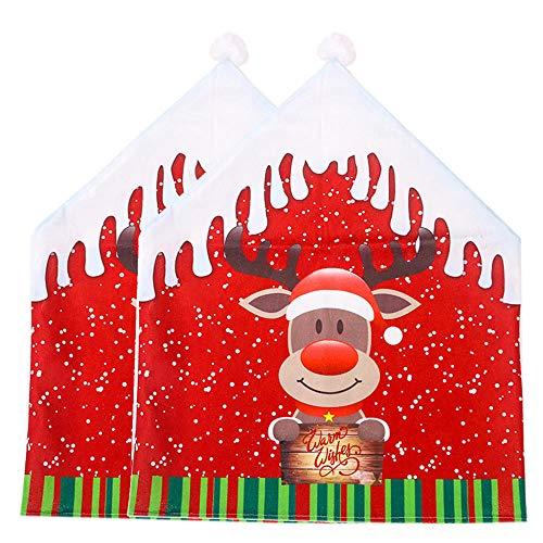 Fundas Decorativas para Sillas De Comedor Fundas para Sillas De Navidad Asiento De Comedor Decoración De Sillas De Papá Noel Decoración De Fiestas En Casa 2 Piezas De Alce Los 47X60Cm