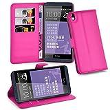 Cadorabo Hülle für HTC Desire 816 - Hülle in Cherry PINK – Handyhülle mit Kartenfach & Standfunktion - Hülle Cover Schutzhülle Etui Tasche Book Klapp Style